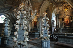 A pretty creepy place - The Sedlec Ossuary outside Kutn Hora / Czech Republic [Reupload] (Maria_Globetrotter) Tags: travel family tourism church cemetery skeleton skull europe catholic all republic czech prague roman saints chapel praha tourist creepy spooky v hora ossuary kutnahora bones april czechrepublic bone kostnice addams kostel addamsfamily sedlec kutn 2011 esko tjeckien hbitovn vech svatch sedlci mariasweden