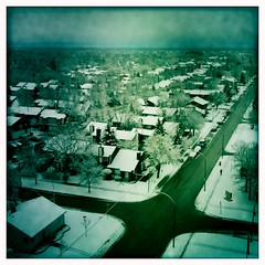 Snowy town (AxSDenied) Tags: city blue winter streets cold dark town winnipeg rooftops snowy iphoneapp hipstamatic