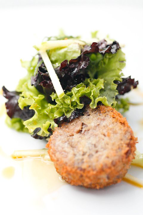 Crispy Duck Roulade with Mixed Greens