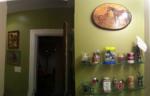well i got the bathroom painted and hung shelves/pictures