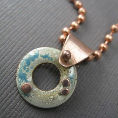 enamel play (: : lynn bowes : :) Tags: white necklace turquoise copper pendant enamel torchfired