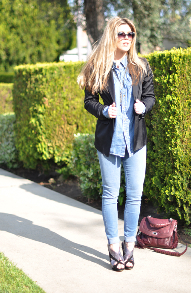 long mess hair and chloe sunlgasses + denim on denim and nicholas kirkwood stilettos