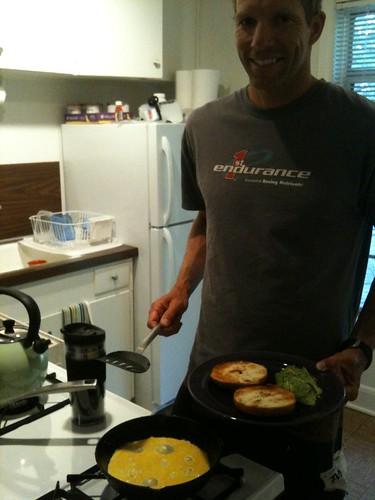 ML preparing his food