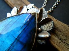 3 andrea's necklace (hybrid handmade (Cari-Jane Hakes)) Tags: blue black texture leaves stone silver necklace azure jewelry jewellery labradorite bezel
