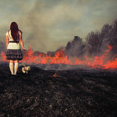 My tears and the sky (bellydnce1103) Tags: bear trees red selfportrait girl hair fire teddy smoke skirt burning flame ash prairie
