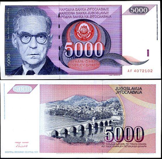 5000 Dinárov Juhoslávia 1991, P111