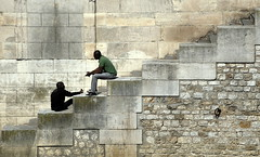 Chatting (MXW) Tags: friends man black paris france men brick weather wall stairs friend chat warm europe stair african steps talk step april talking chatting marche escaliers marches