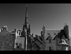 Edinburgh Rooftops (_K5_1324) ([Rossco]:[www.rgstrachan.com]) Tags: roof castle history buildings scotland edinburgh rooftops historic oldtown thehub monocrhome