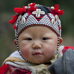Red Dzao Baby With A Traditional Hat, Sapa, Vietnam (Eric Lafforgue) Tags: people baby face childhood youth square person one beads kid colorful asia exterior head tribal headshot vietnam viet innocence asie colourful tribe humanbeing sapa oneperson yao traditionaldress colorphoto vietname  ethnicminority wietnam northernvietnam lookingatcamera traditionalclothes reddao reddzao yaopeople ethnicgroup daopeople    daodo vietnam7183