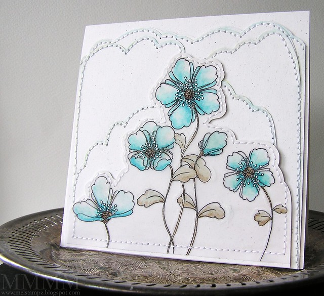 doodled flowers embossed on vellum mel stampz