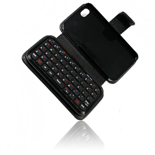 Mini bluetooth keyboard for iphone 4G with leather pouch case