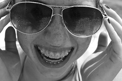 one one nine; (chartothelatte) Tags: bw smile closeup laughing happy maddie play oliver braces teeth awesome emma melissa kiawah jordan freckles 365 drama sami day119 lainey