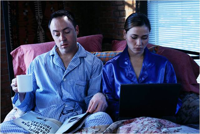 Couple with Electronics