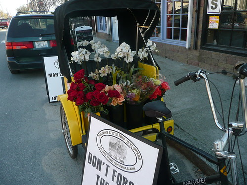 pedicab full of flowers