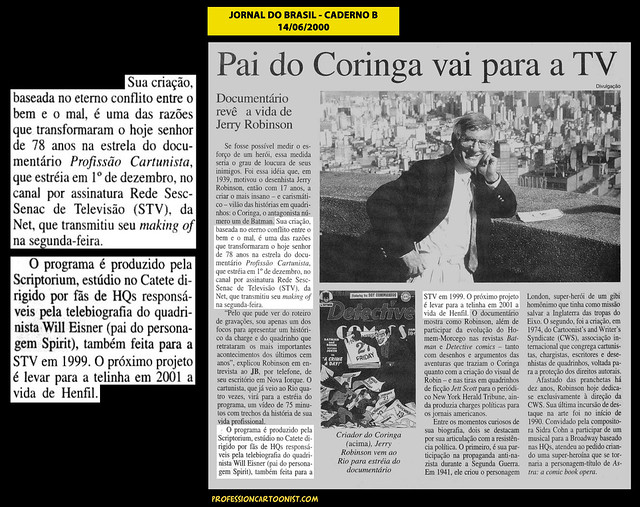 """""""Pai do Coringa vai para a TV"""" - Jornal do Brasil - 14/06/2000"""