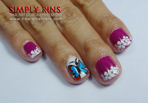Nail Art Butterfly and Flowers 07