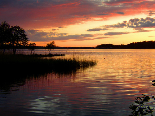 [フリー画像] 自然・風景, 川・河川, 夕日・夕焼け・日没, スウェーデン, 201105241900