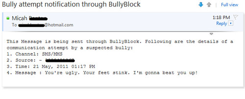 Android Apps: Bully Block Review emailed text