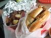 Beef brisket sandwich and potatoes
