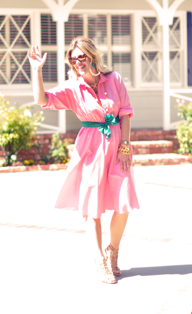 watermelon pink  dress with   nude heels green sash gold jewelry cat eye sunglasses