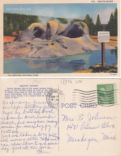 Yellowstone - Grotto Geyser 6-15-1949