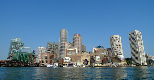 Downtown Boston from our water taxi.