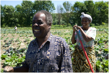 Clothilde Ntahomvukiye, 63 and Michele Mpambazi, 64 are married and farm together in the New Farms for New Americans project.  They were both born in Bujumburi, Burundi.  They have been farmers since they were children.