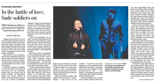 Wash Post Sade tearsheet