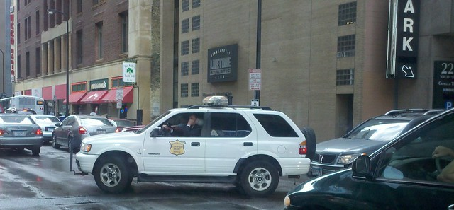 Photograph of a New York State Certified Escort Vehicle in Downtown Minneapolis