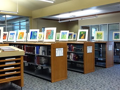 Low shelving used to display student art