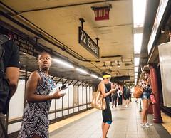 Wary (UrbanphotoZ) Tags: women subway passengers worried unconcerned 72st platform cellphones upperwestside manhattan newyorkcity newyork nyc ny