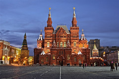 Moscow - State Historical Museum (AJ Brustein) Tags: city winter red people urban snow building brick lines night canon square aj evening twilight downtown cloudy russia dusk moscow unesco bluehour brustein  50d  statehistoricalmuseum