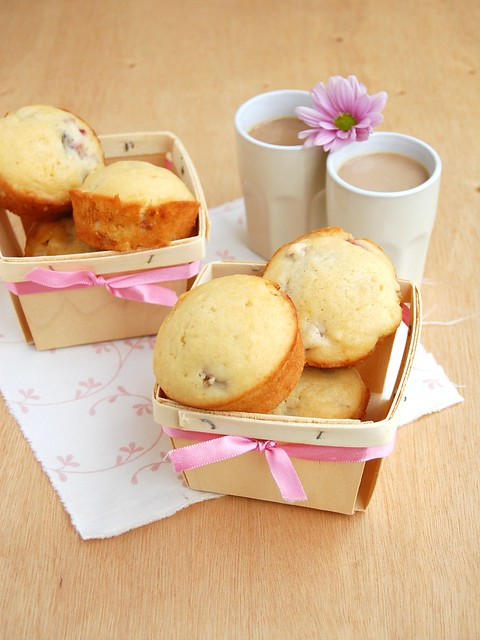 Rhubarb white chocolate muffins / Muffins de ruibarbo e chocolate branco