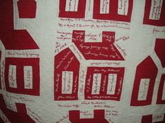 Red & White Signature quilt detail