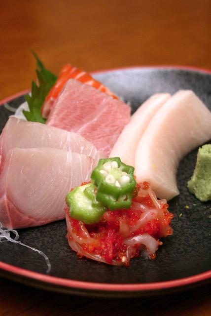 Assorted Sashimi - o-toro, kanpachi, mekajiki, ika somen, salmon trout