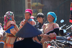 The stare (stevech) Tags: morning family mountain haircut black cold flower color men girl scarf walking kid women vietnamese village market head hill sunday group vietnam cai local tradition tribe lao sapa hmong laocai hilltribe bacha