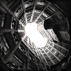 Casa Mil (tk21hx) Tags: barcelona blackandwhite bw architecture spain fisheye gaudi casamila antoniogaud antonigaud sigma15mmf28exdgdiagonalfisheye canoneos5dmarkii antoniplcidguillemgaudicornet silverefexpro antonioplcidoguillermogaudycornet