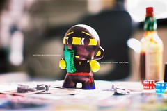 Ninja Munny (Victor Mui) Tags: original blur classic work canon photography 50mm women bokeh ninja hard arts craft victor kidrobot made coloring 5d thingy f12 santan mui munny my i f12l victormui hahaanother