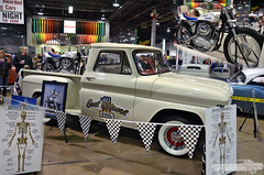 Evel Knievel (Chad Horwedel) Tags: white classic chevrolet bike truck illinois pickup rosemont chevy motorcycle evelknievel c10 chevyc10 worldofwheels 1966chevyc10