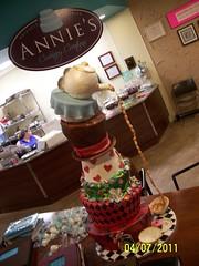 paintball 133 (Annie's Culinary Creations) Tags: cake alice wonderland paintball teaparty aliceinwonderland topsyturvy