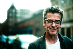 Peter Capaldi (TGKW) Tags: street city portrait people man smile glasses malcolm expression glasgow scottish peter actor tucker director merchant 3545 capaldi