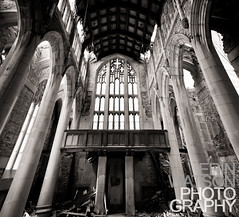Sanctuary (Erin Watson/Abandoned Exploration) Tags: city windows roof urban bw white black abandoned church glass canon photography spring ruins erin decay exploring indiana stainedglass stained april 5d gary strength methodist pillars sanctuary urbex 2011 citymethodist erinwatsonphotography