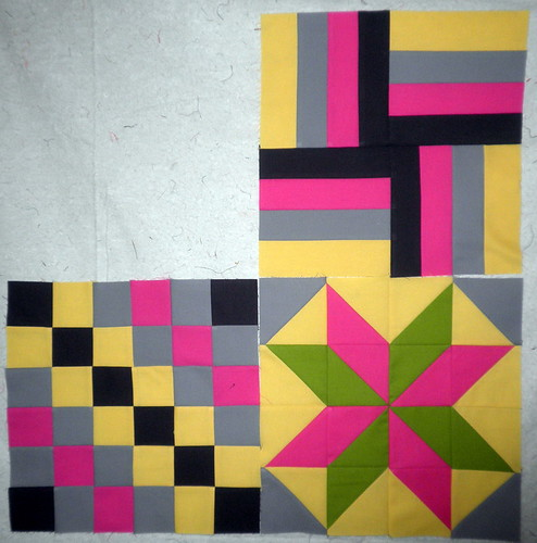 Modern Solids Quilt Along - 3 blocks so far