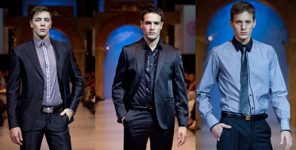Tres modelos exhiben prendas de Gilardini, en el último desfile del Asunción Fashion Week. (Tetsu Espósito - Asunción, Paraguay)