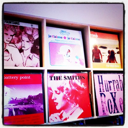 Pink colour Jkt. from vinyl shelves