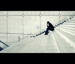 the thinker (millan p. rible) Tags: street cinema paris france canon movie still candid stranger ladefense cinematic thethinker grandearche 135l canonef135mmf2lusm canoneos5dmarkii 5d2