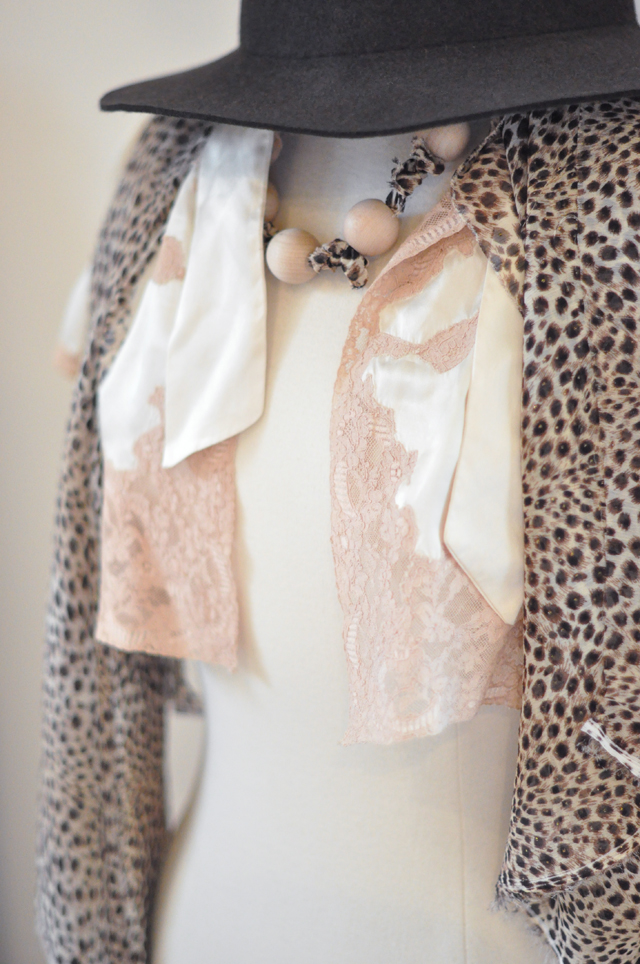 leapard and vintage lace + dress form
