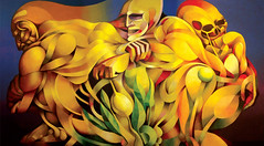 Entre la vida y la muerte (The Cameron Gallery) Tags: graphicdesign puertorico modernart machineart puertoricanart humanfigure dragonstreet dallasdesigndistrict thecamerongallery rubenmiranda