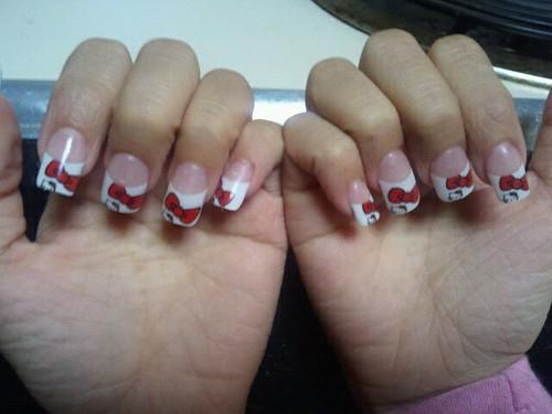 hello kitty nails. hello kitty nails bow