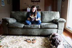 books, books, books! (britney;alexis) Tags: dog cute canon relax reading book spring shoes nap sandals relaxing piano naturallight read couch sofa tired flipflops layingdown 2011